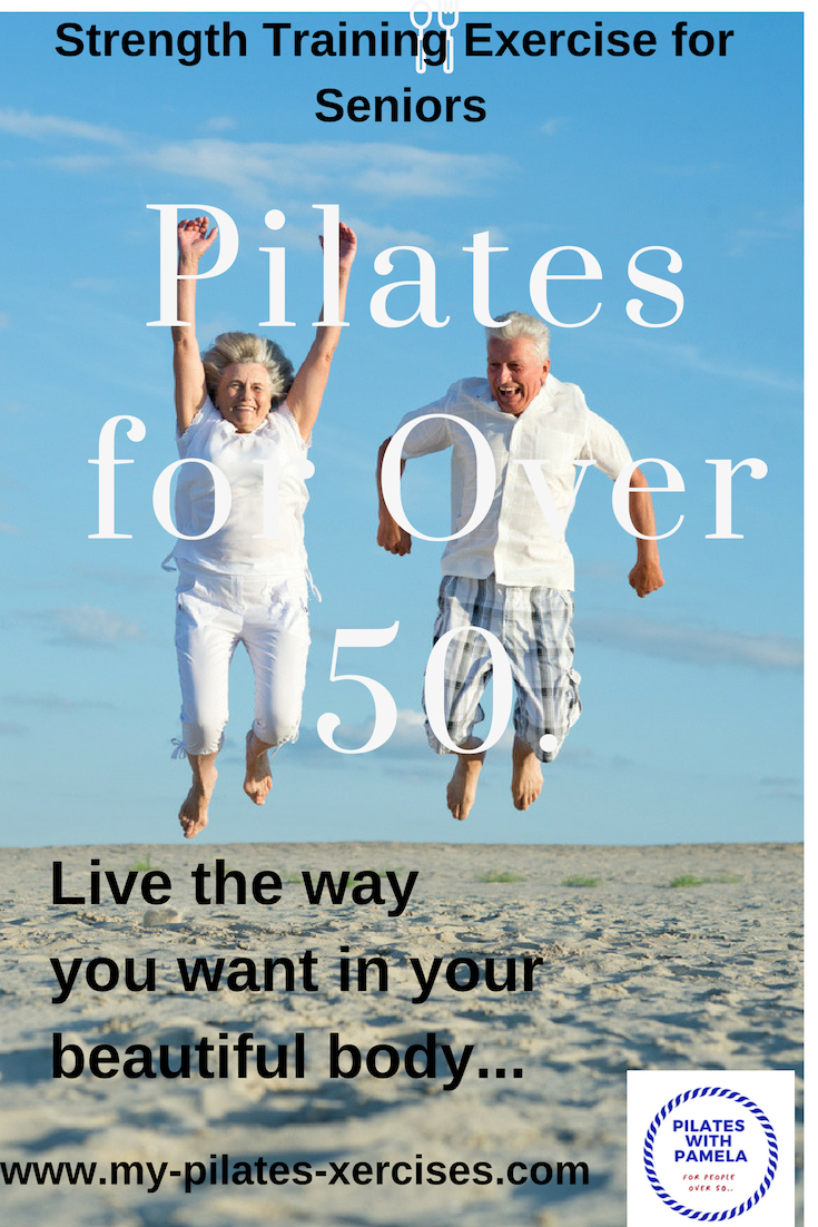 Fit at 50 Pilates - Live in a pain-free body.  These Pilates exercises will improve strength, flexibility, posture, balance and pelvic floor strength.......